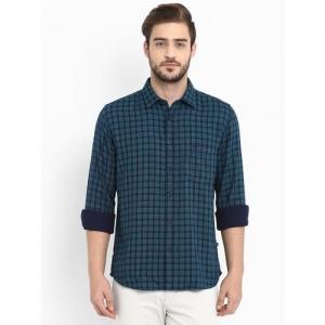 Parx Men Checkered Casual Green Shirt