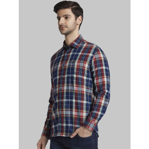 Parx Men Navy Blue & Red Slim Fit Checked Casual Shirt