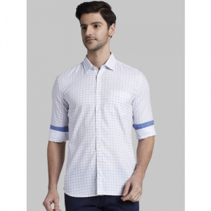 Parx Men White & Blue Slim Fit Checked Casual Shirt