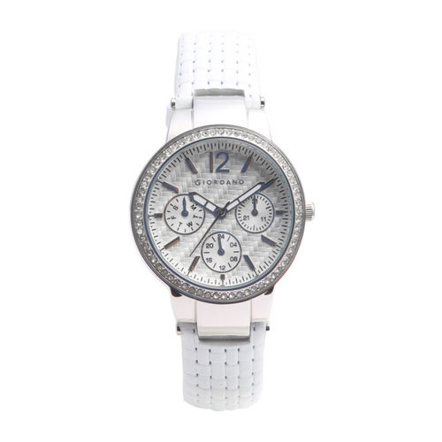 GIORDANO Women White Analogue Leather Watch 2890-01
