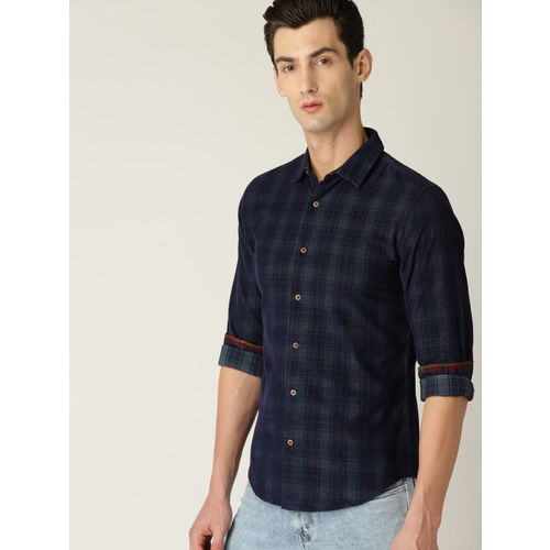 United Colors of Benetton Men Navy Blue Slim Fit Checked Corduroy Casual Shirt