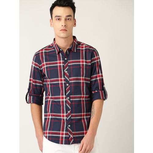 United Colors of Benetton Men Navy Blue & Red Slim Fit Checked Casual Shirt