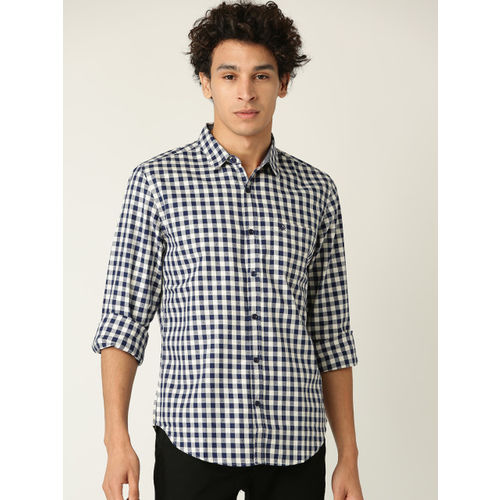 United Colors of Benetton Men Navy Blue & Off-White Checked Casual Shirt