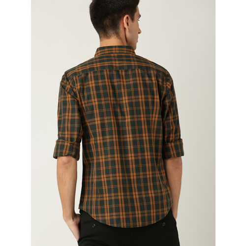 United Colors of Benetton Men Green & Orange Slim Fit Checked Casual Shirt