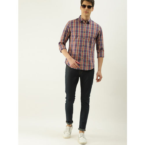 United Colors of Benetton Men Blue & Red Slim Fit Checked Casual Shirt