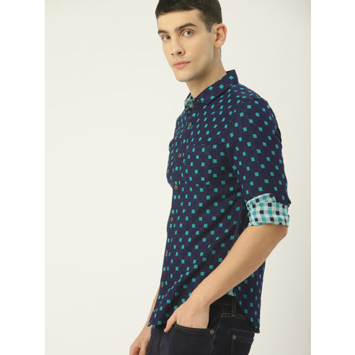 United Colors of Benetton Men Navy Blue & Green Regular Fit Printed Casual Shirt