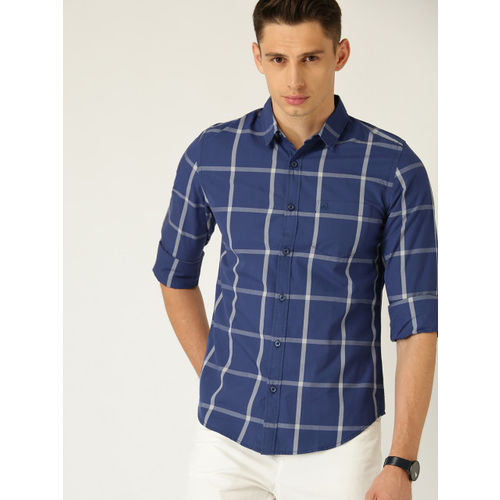 United Colors of Benetton Men Navy Blue & White Regular Fit Checked Casual Shirt