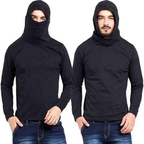 Maniac Self Design Men Round Neck Black T-Shirt