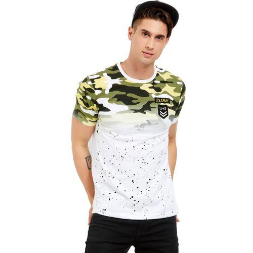 Maniac Military Camouflage Men Round Neck White, Green T-Shirt