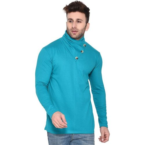 Tfurnish Solid Men Round Neck Light Green T-Shirt
