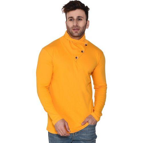Tfurnish Self Design Men Round Neck Yellow T-Shirt