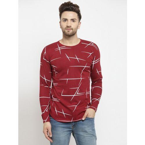 NB NICKY BOY Printed Men Round Neck Reversible Maroon T-Shirt