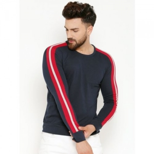 GESPO Striped Men Round Neck Blue T-Shirt