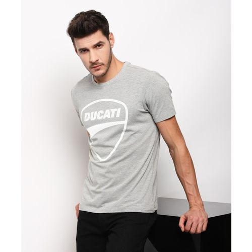 Ducati Graphic Print Men Round Neck Grey T-Shirt