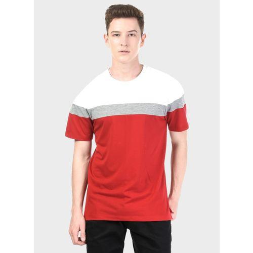 Kalt Striped Men Round Neck Red T-Shirt