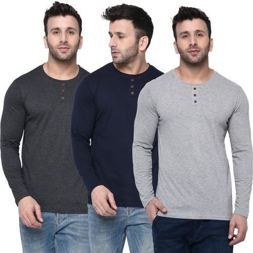 London Hills Solid, Self Design Men Round Neck Blue, Grey T-Shirt(Pack of 3)
