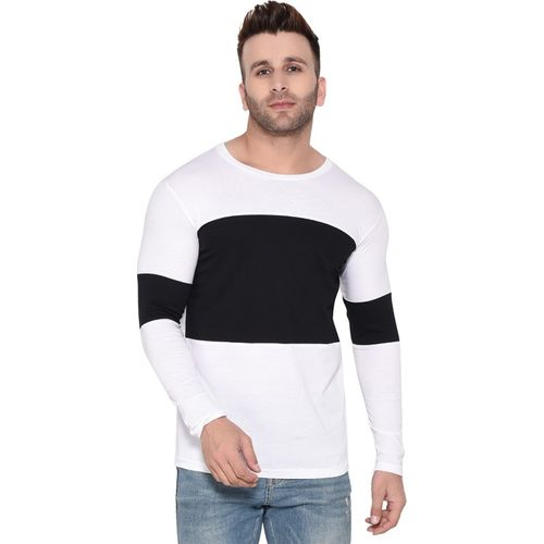 Rezalia Color Block Men Round Neck White T-Shirt