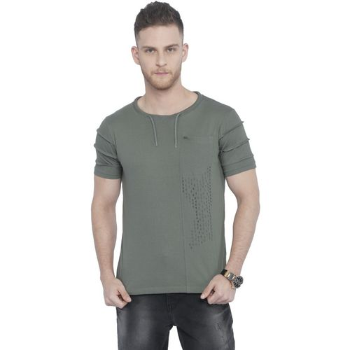 Rodid Self Design Men Round Neck Grey T-Shirt