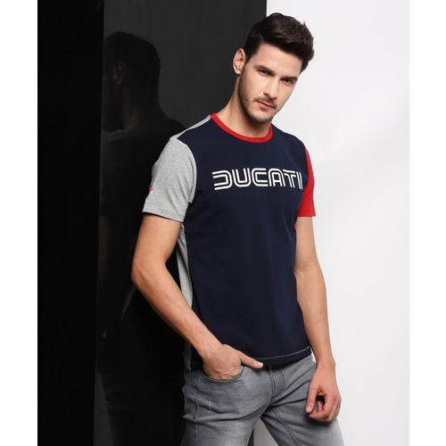 Ducati Printed Men Round Neck Dark Blue T-Shirt