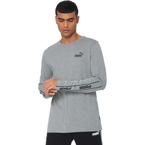 Puma Solid Men Round Neck Grey T-Shirt