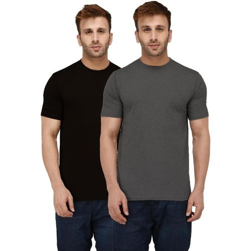 London Hills Solid Men Round Neck Black, Grey T-Shirt(Pack of 2)