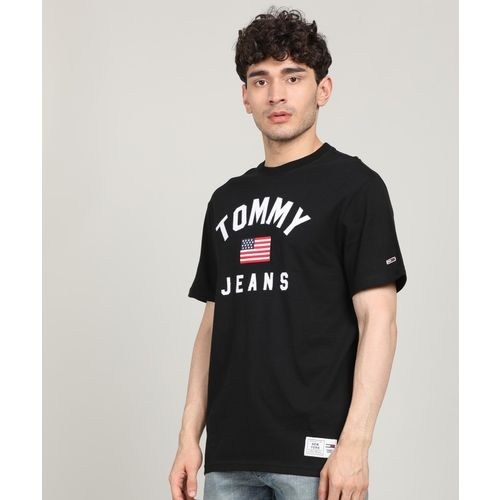 Tommy Hilfiger Applique Men Round Neck Black T-Shirt
