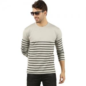 THE ARCHER Striped Men Round Neck Grey T-Shirt