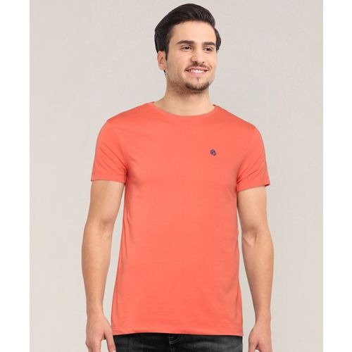 Peter England University Solid Men Round Neck Orange T-Shirt