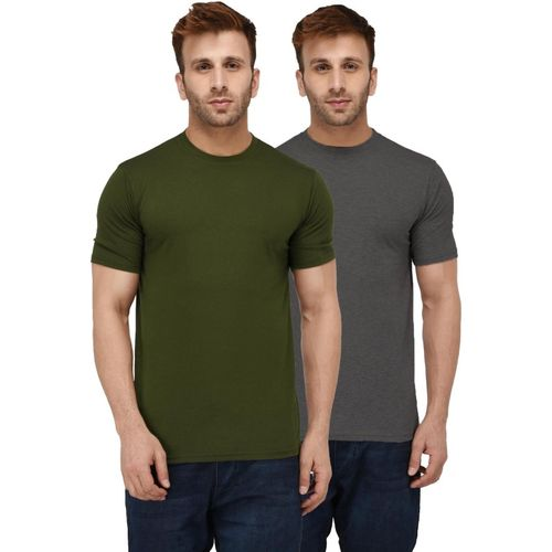London Hills Solid Men Round Neck Dark Green, Grey T-Shirt(Pack of 2)