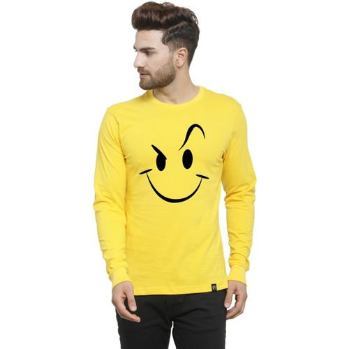Friskers Printed Men Round Neck Yellow, Black T-Shirt