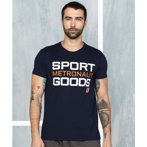 M7 By Metronaut Printed Men Round Neck Dark Blue T-Shirt