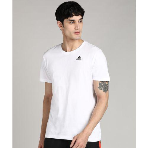 ADIDAS Solid Men Round Neck White T-Shirt