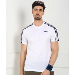 ADIDAS Striped Men Round Neck White T-Shirt