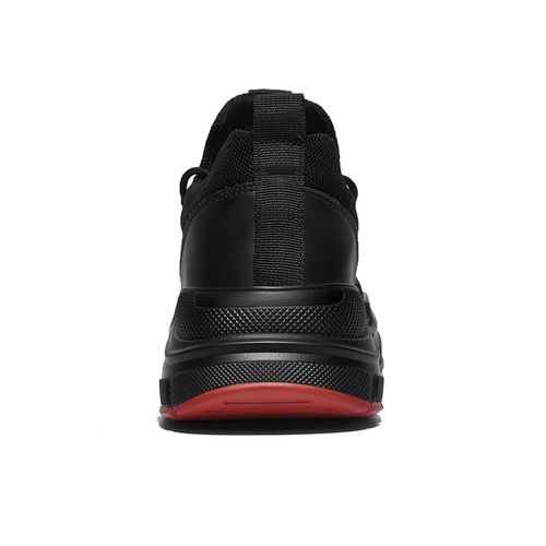 SUROM Black Mesh Lace-up Running Sport Shoes