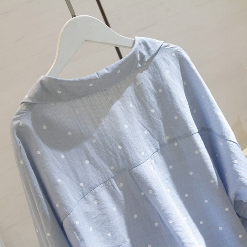 ETST WENDY 5XL Plus Size White Polyester Polka Dot Knitted Casual Shirt