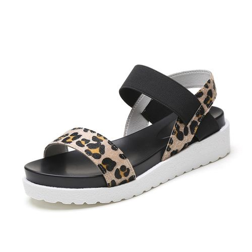 QUNSHENGRUI QSR Leopard sandals summer Leopard grain sandals women Sandals shoes woman peep-toe flat Shoes Roman sandals Women sandals
