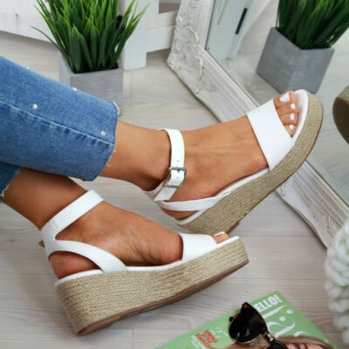 Puimentiua Summer Shoes Platform Sandals Fashion Women Strap Fashion Sandal Wedges Shoes Casual Woman Peep Toe Espadrille Femme