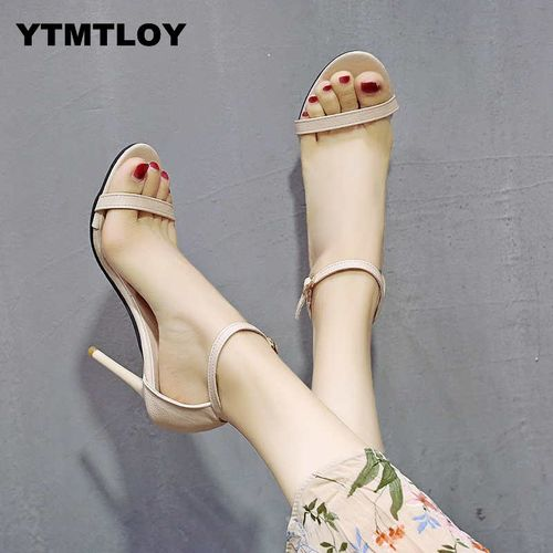 YTMTLOY HOT Ankle Strap Heels Women Sandals Summer Shoes Open Toe Chunky High Party Dress Black Sandals Sexy Black Luxury Gladiator