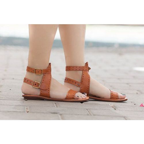 Negroke Women Sandals 2019 Flat Gladiator Leather Sandals Summer Shoes Woman Rome Style Double Buckle Casual Beach Sandles Plus Size 43