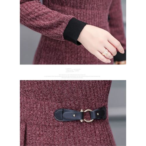 COCOEPPS L-5XL 2019 Plus Size Casual Winter Thick Warm Dress Women Autumn Long Sleeve Slim Dress Female Vintage Large Size Knitting Dress