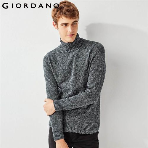 Giordano Men Sweater Thick Turtleneck Pullover Men Ribbed Cuffs Hem Sweater
