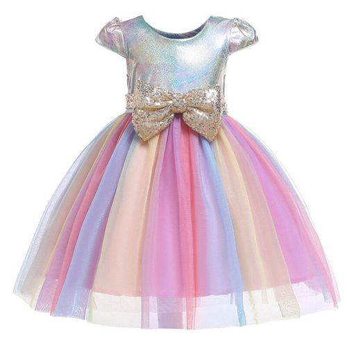 KEAIYOUHUO Sequins Flower Kids Princess Party Dress for Girls Infant Lace Children Wedding Elegant Dress for Girl Baby Girls Clothes
