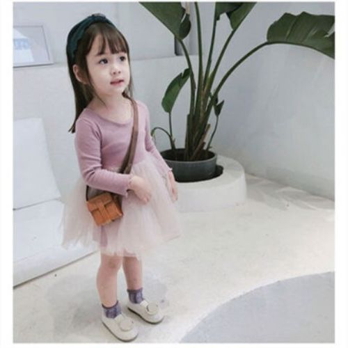 Baby Girl Dress solid 2019 Fashion Kids Spiring Autumn Clothes Princess Girls long sleeve tutu Dresses 80~130 toddlers grey