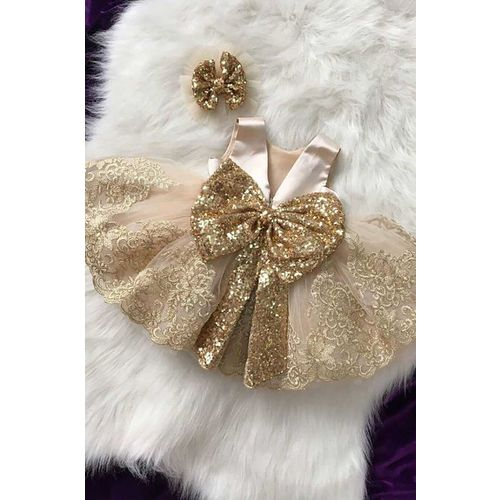 ZCBM Girls Gold Sequined Princess Dress 2019 Kids Dresses For Girls Girl Christams Halloween Party Dress With Headband