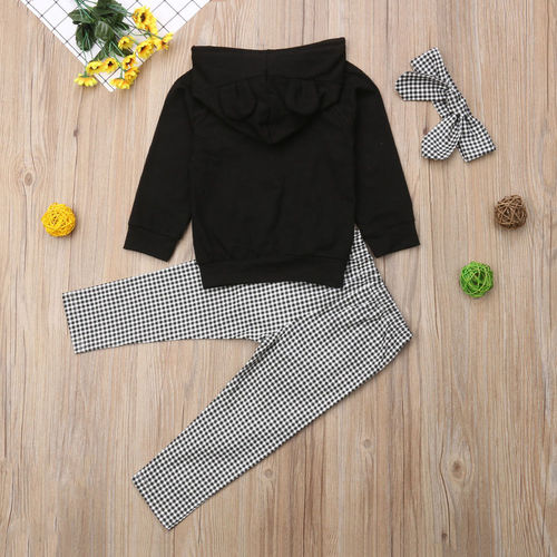 pudcoco Autumn Winter Toddler Kids Baby Girl Clothes Set 3PCS 3D Ear Black Hooded Pullovers Tops+Ruffles Plaid Pants Outfits Sets
