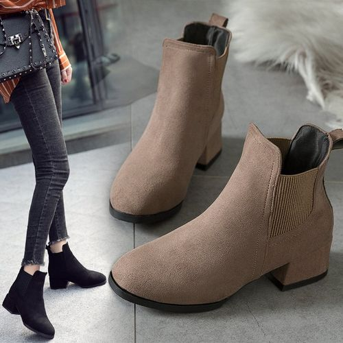 SLYXSH Autumn Winter Boots women Camel Black Ankle Boots For Women Thick Heel Slip On Ladies Shoes Boots Bota Feminina 35-41