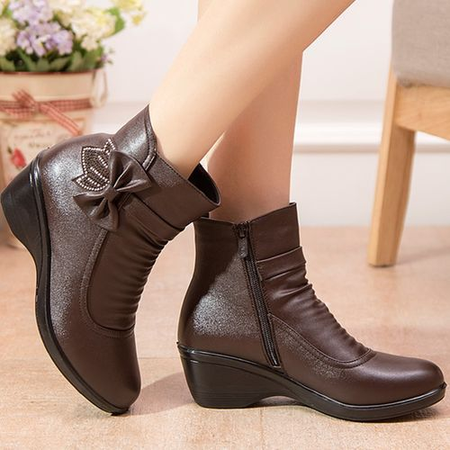 CYFMYD Women Brown Leather Round-toe WInter Boots