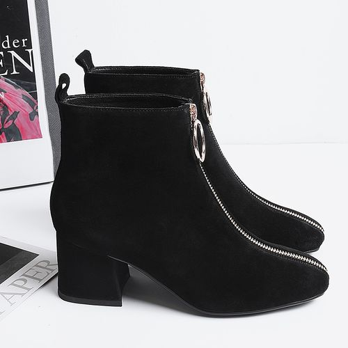 vangull Women ankle Boots Cow suede 22-25.5 cm length autumn and winter Square toe front zipper ladies boots female+shoes women booties