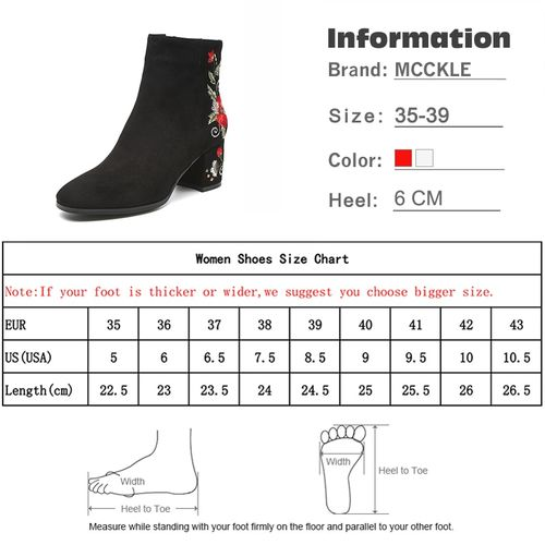 MCCKLE Ankle Boots For Women Winter Warm Plush Fashion Embroider Short Boots Ladies High Heels Round Toe Casual Shoes Zip Mujer