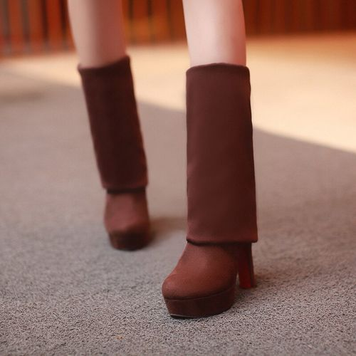 VOGELLIA Women Boots Super High Heels Slip On Over The Knee Sexy Long Boots Female Platform Stretch Patchwork Flock Two Ways Wear